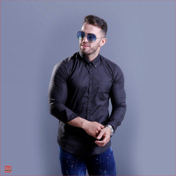 camisa ML ref 1452  negra, tela en algodon 98% mas 2% expande