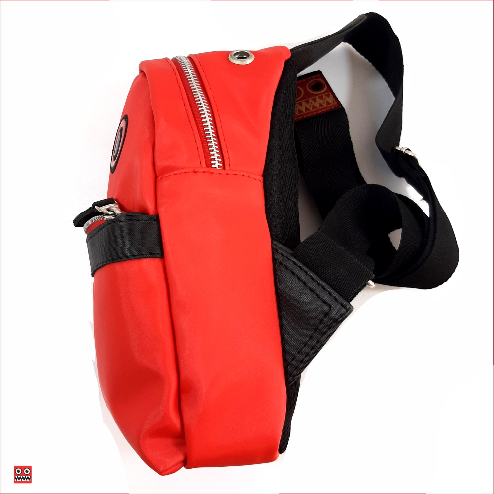 Bolso rojo minimi , material sintético resistente brillante 2, $52.000