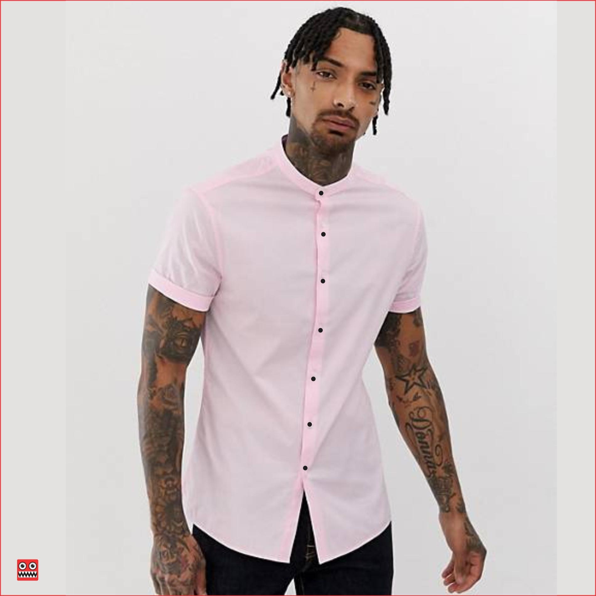 camisa mc ref 1388 rosado, tela en algodón 98% mas 2% expande. tallas S-M-L-XL.
