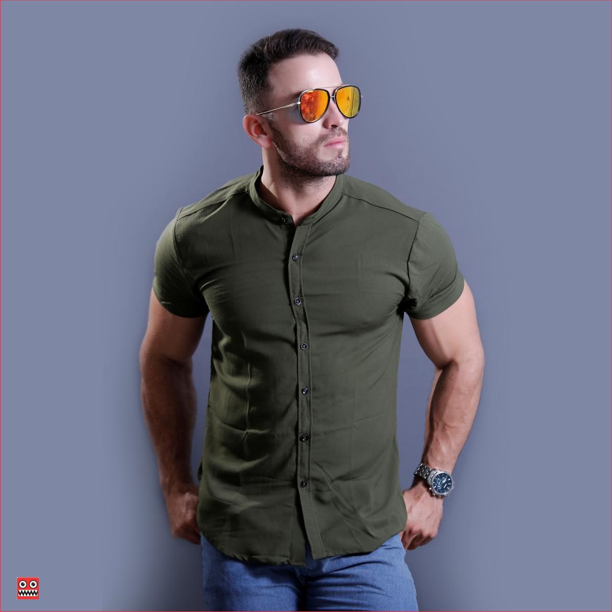 camisa mc ref 1457 verde oliva, tela camisero en viscosa confort.