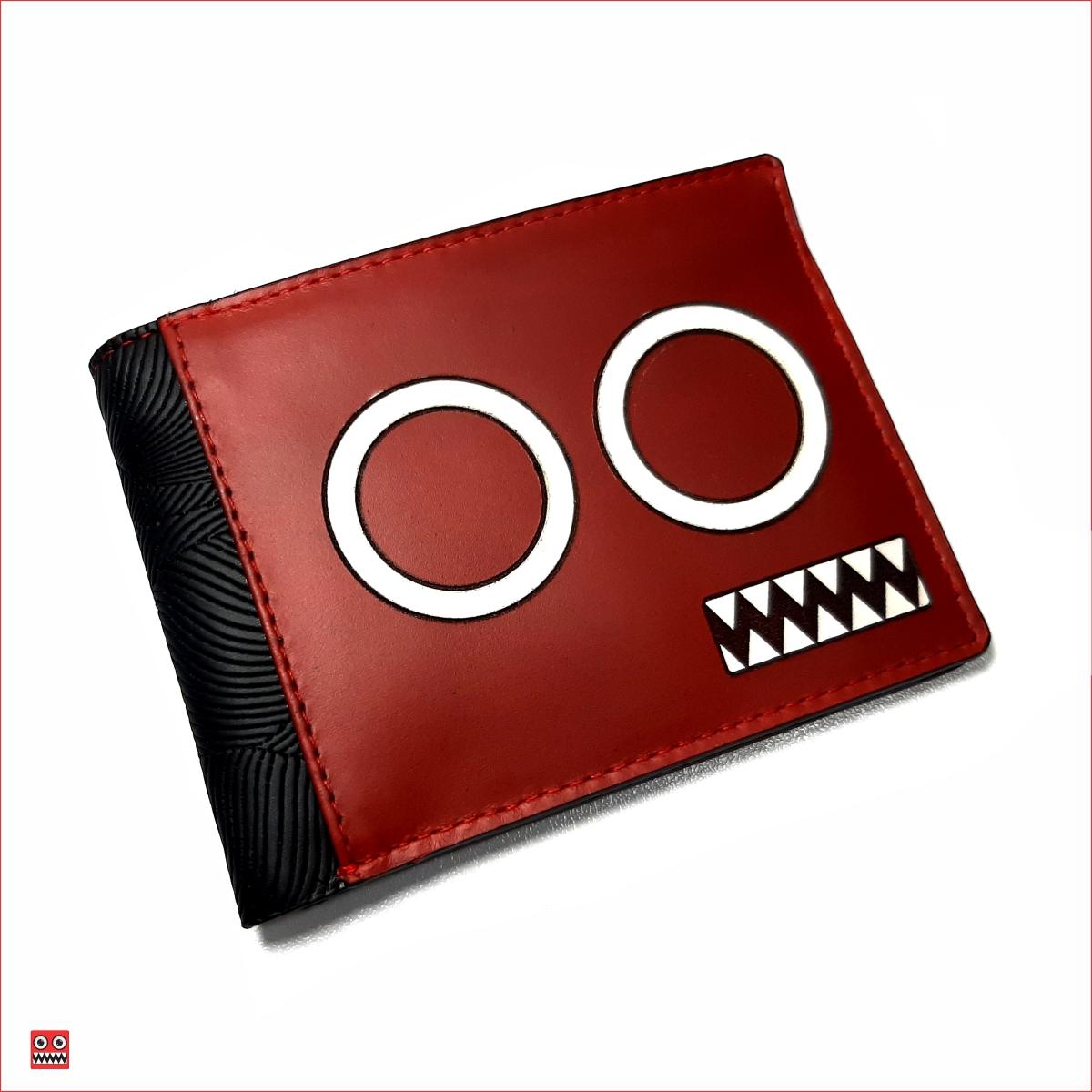 Billetera roja – negro y ojos blancos con interior rojo, material 100% cuero y Sintético brillante negro, $45.000 0 Medida 11,5 cm x 8,7 cm cartera cerrada.