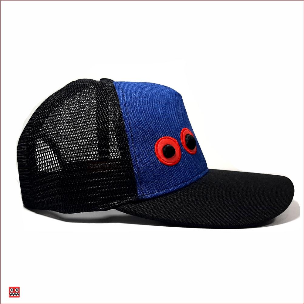 Gorra lona azul con maya negra ojos bordados pequeños 2 $37.000