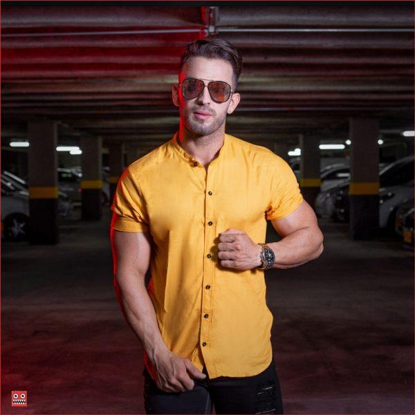ref 1470 2 Camisa MC mostaza, tela fria 98% viscosa + 2% expande. $57.000