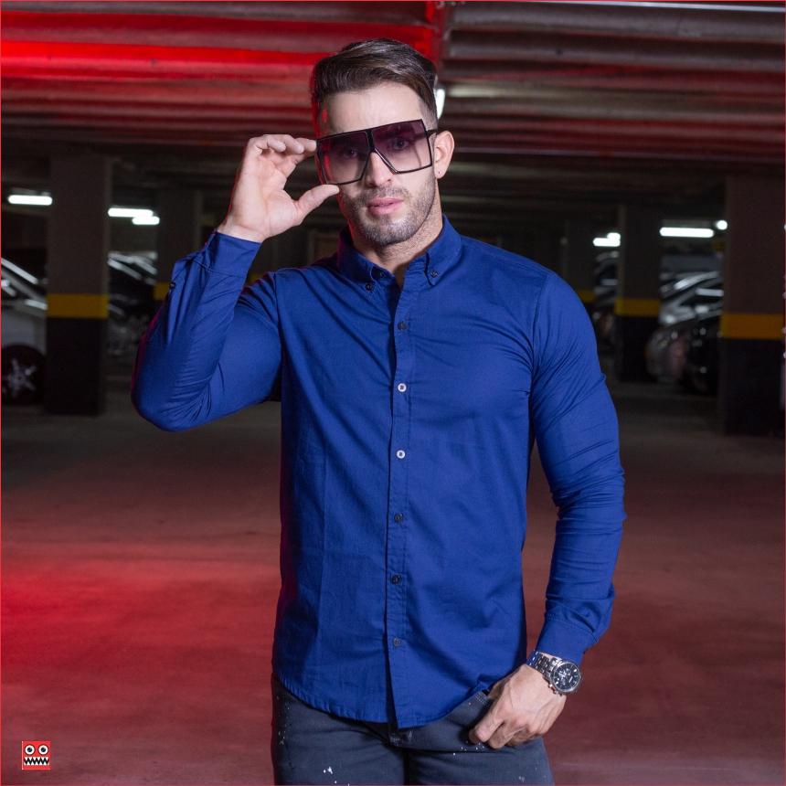 ref 1554 1 Camisa ML azul oscuro, tela algodon 98% + 2% expande. $65.000