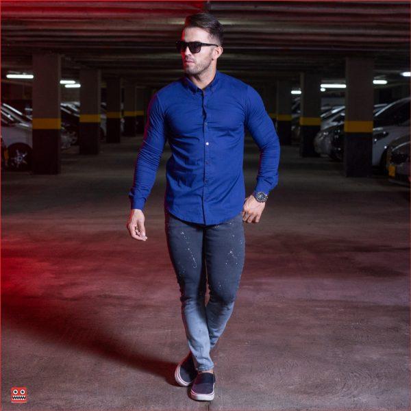 ref 1554 2 Camisa ML azul oscuro, tela algodon 98% + 2% expande. $65.000