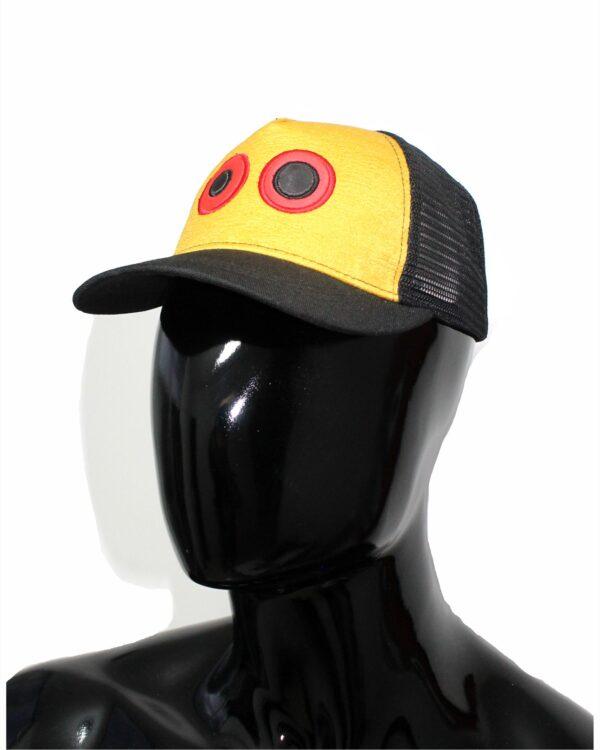 Gorra lona amarillo y visera negro, con maya negra ojos bordados grandes 4 $37.000