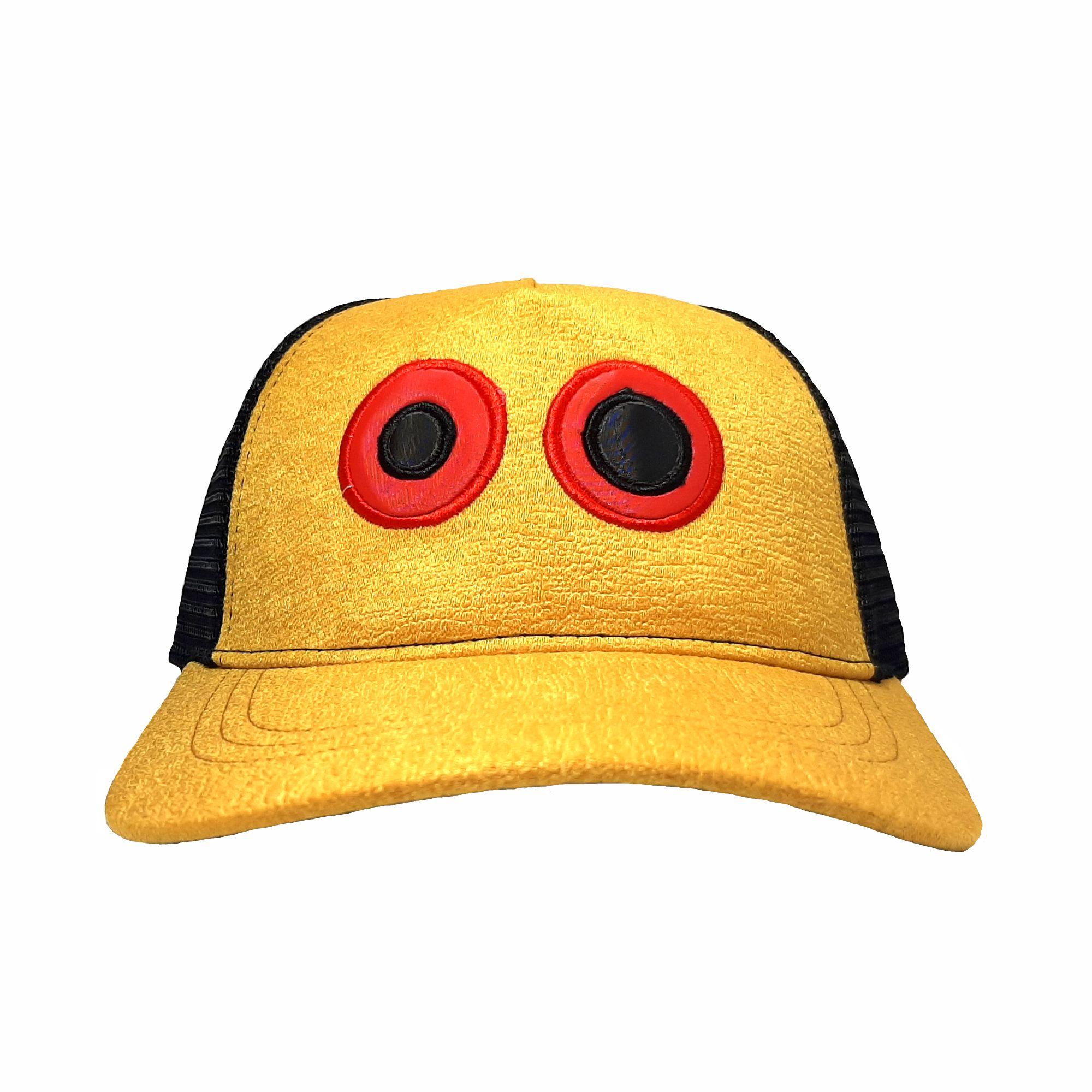 ref 1620 Gorra lona amarillo dorado y visera amarillo dorado, con maya negra ojos bordados grandes 1 $37.000 talla unica