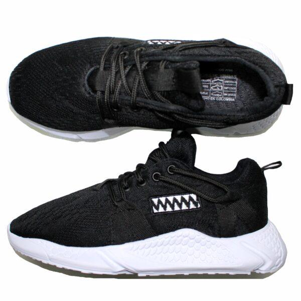 REF 1659  tenis black sport john alco, material lona, suela blanca