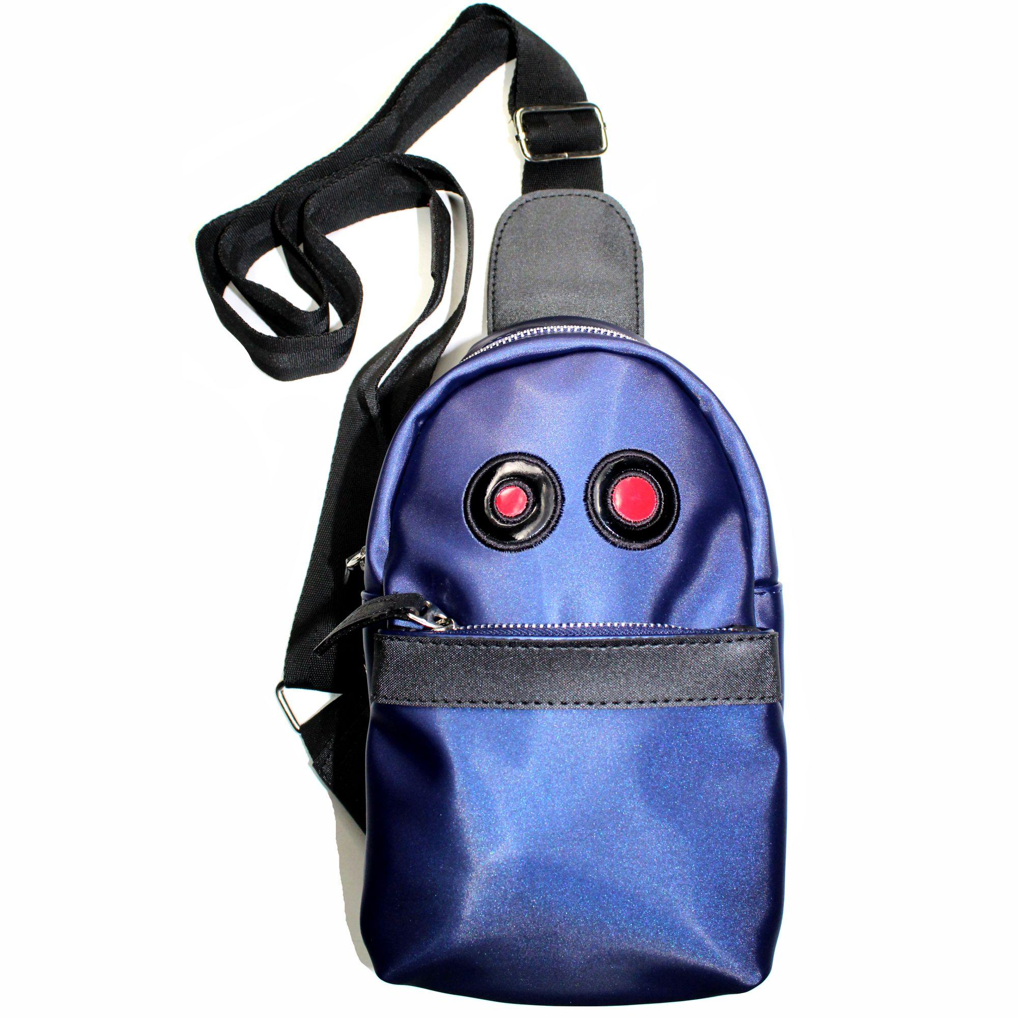 ref 1600 Unisex Carriel Mini azul, material sintetico resistente brillante, talla unica
