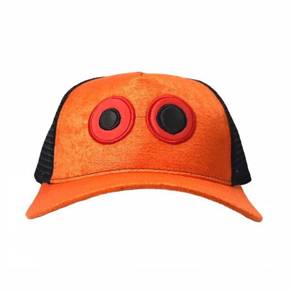 ref 1626 Gorra lona naranja y visera naranja, con maya negra ojos bordados grandes $37.000 talla única