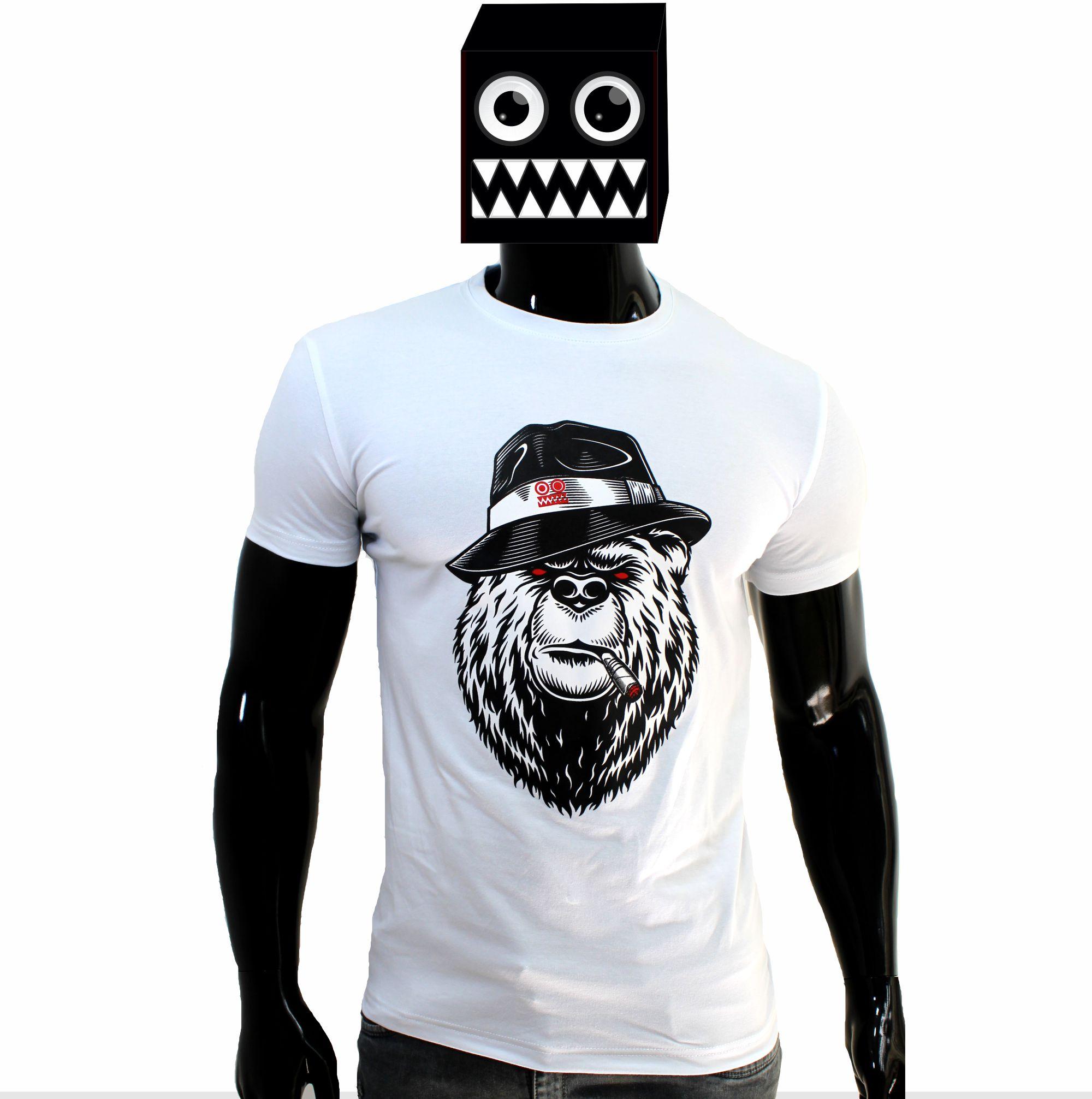 ref 1634  camiseta blanco osos fumando, tela en algodón expande.
