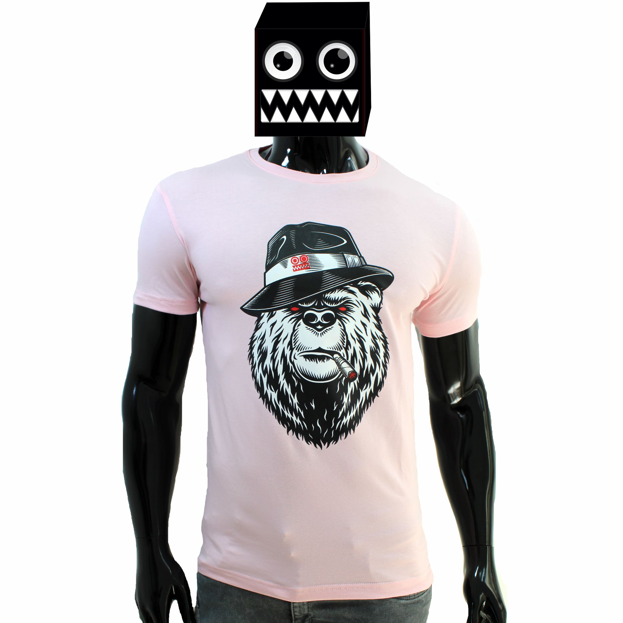 ref 1635  camiseta rosado osos fumando, tela en algodón expande