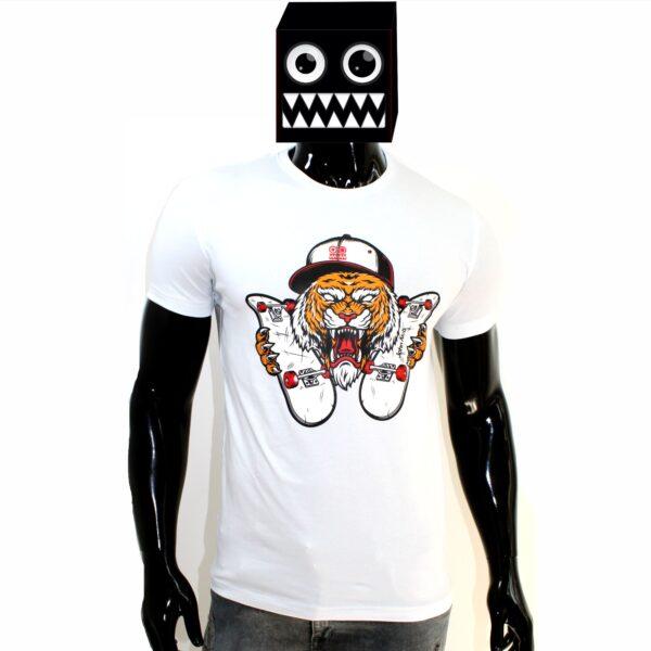 ref 1636  camiseta blanco tigre patineta, tela en algodón expande