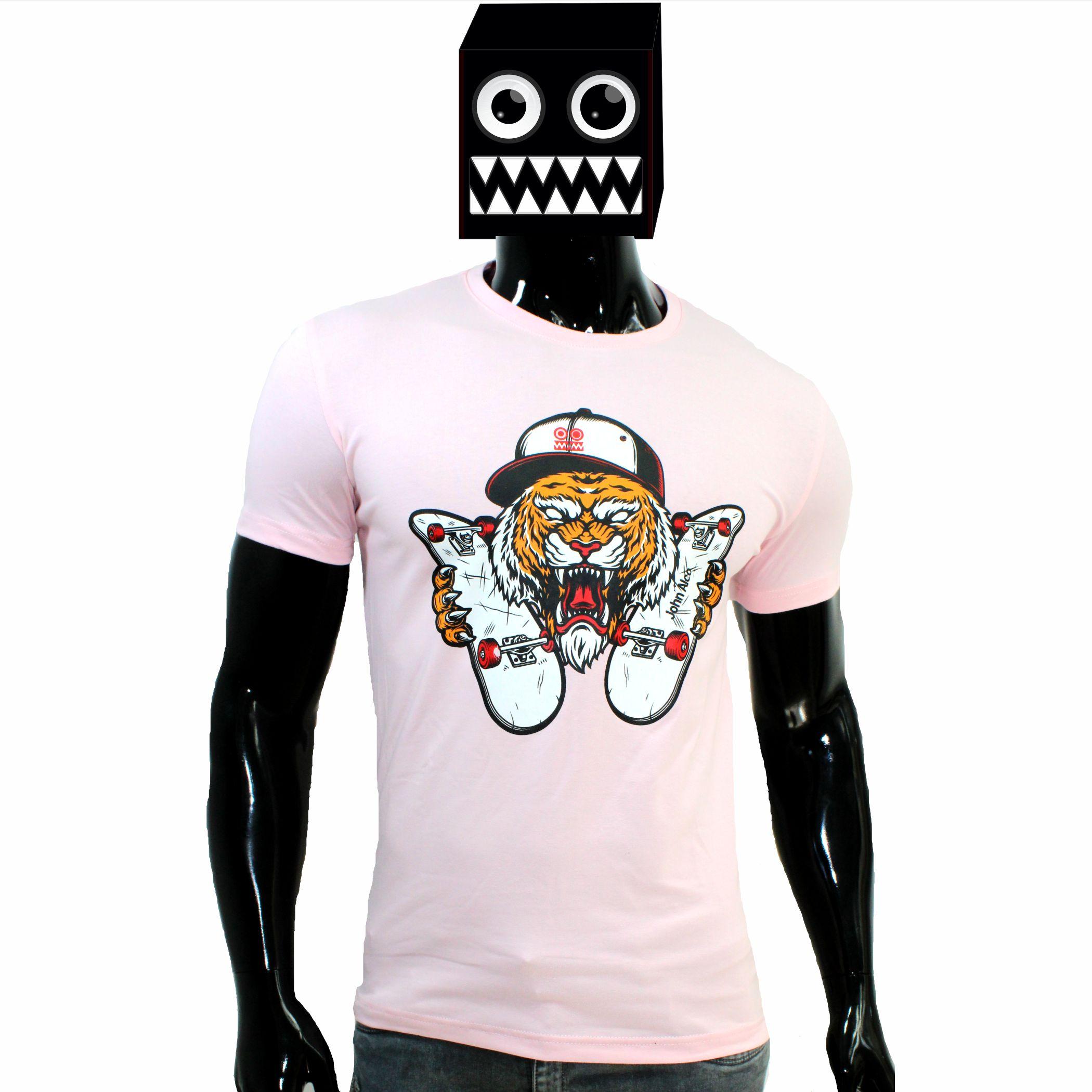 ref 1637  camiseta rosado tigre patineta, tela en algodón expande