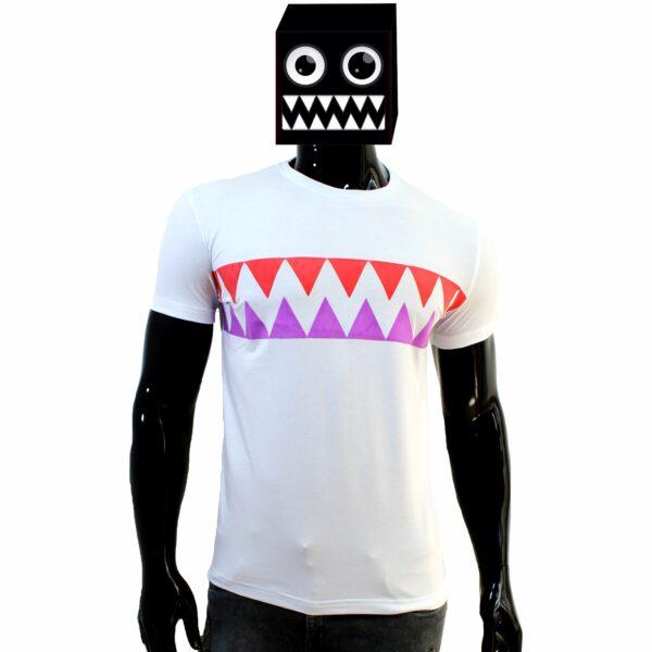 ref 1639  camiseta blanco muelas, tela en algodón expande