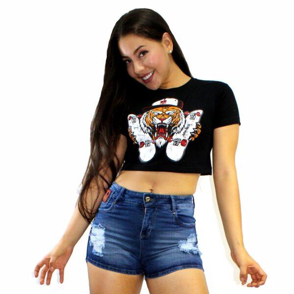 ref 1644 trop top negro tigre patineta, tela en algodón