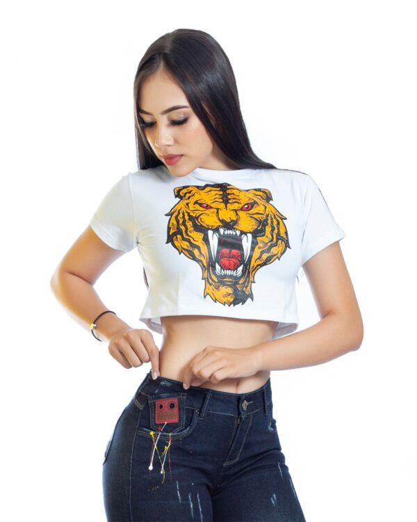 ref 1687 6 trop top blanco tigre colmillos, tela en algodon, talla S M L $37.000