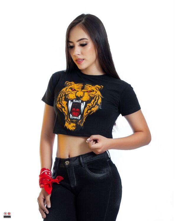 ref 1691 5 trop top negro tigre colmillos, tela en algodon, talla S M L $37.000
