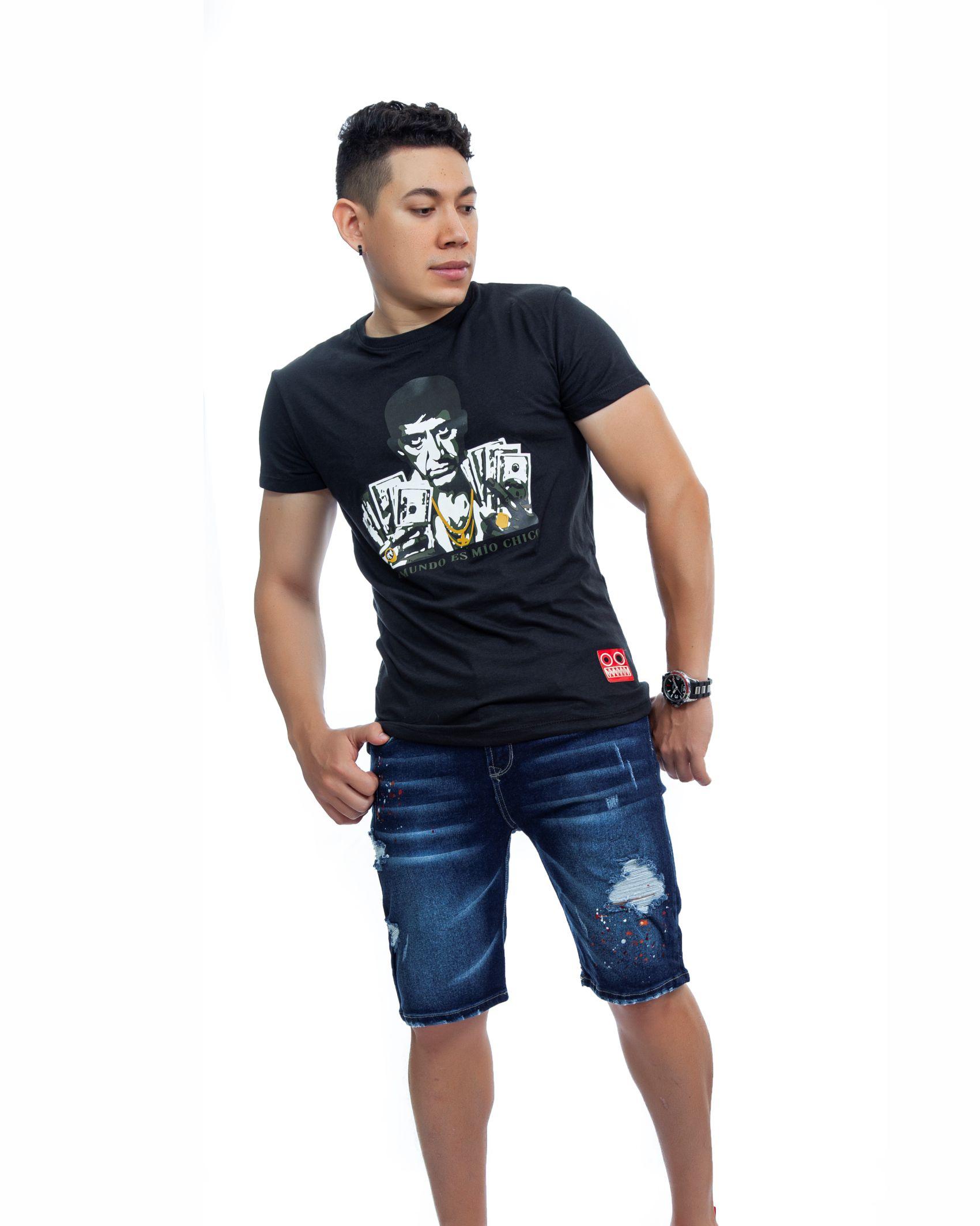 ref 1750 1 camiseta tony dolar, color negro , tela 100% en algodon Tallas S-M-L-XL. $48.000.