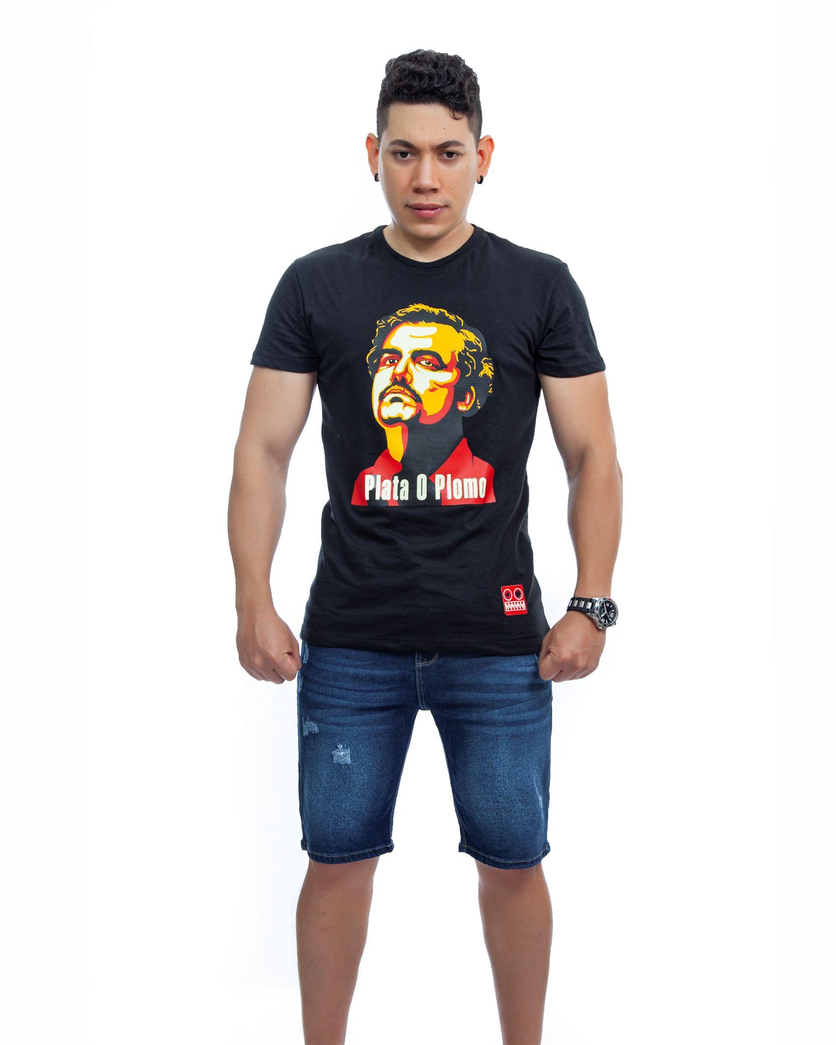ref 1751 1 camiseta pablo, color negro, tela 100% en algodon Tallas S-M-L-XL. $48.000.
