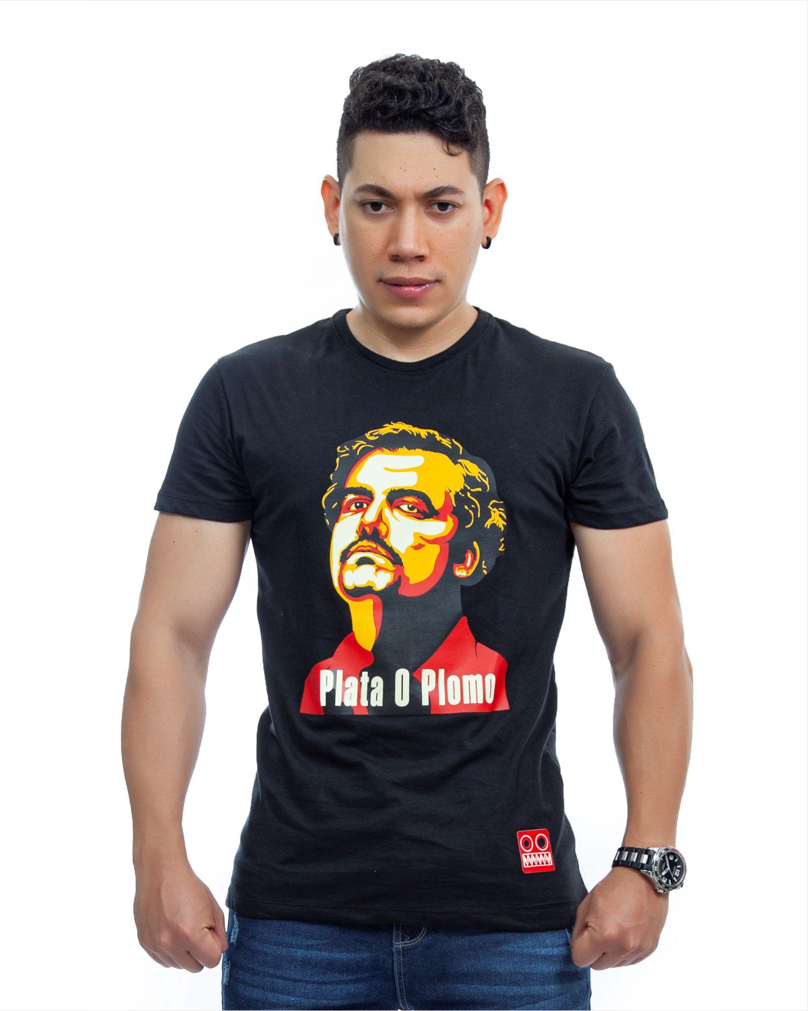 ref 1751 3 camiseta pablo, color negro, tela 100% en algodon Tallas S-M-L-XL. $48.000.