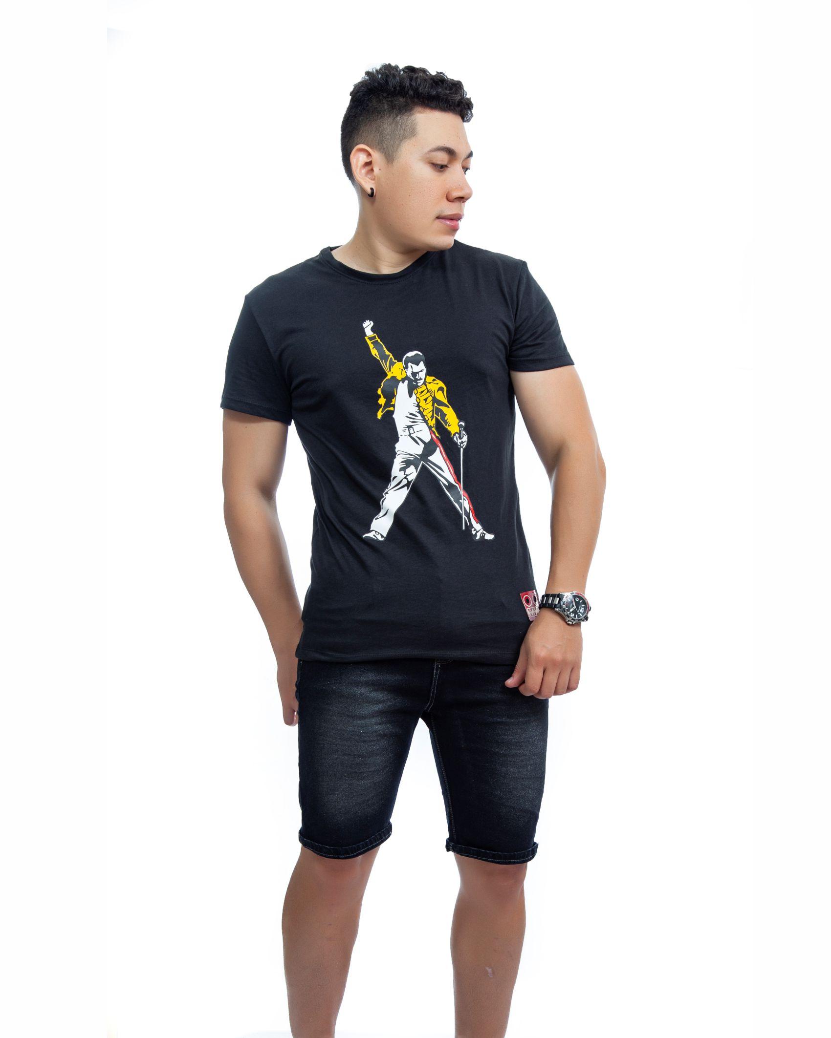 ref 1752 1 camiseta freddie, color negro, tela 100% en algodon Tallas S-M-L-XL. $48.000.