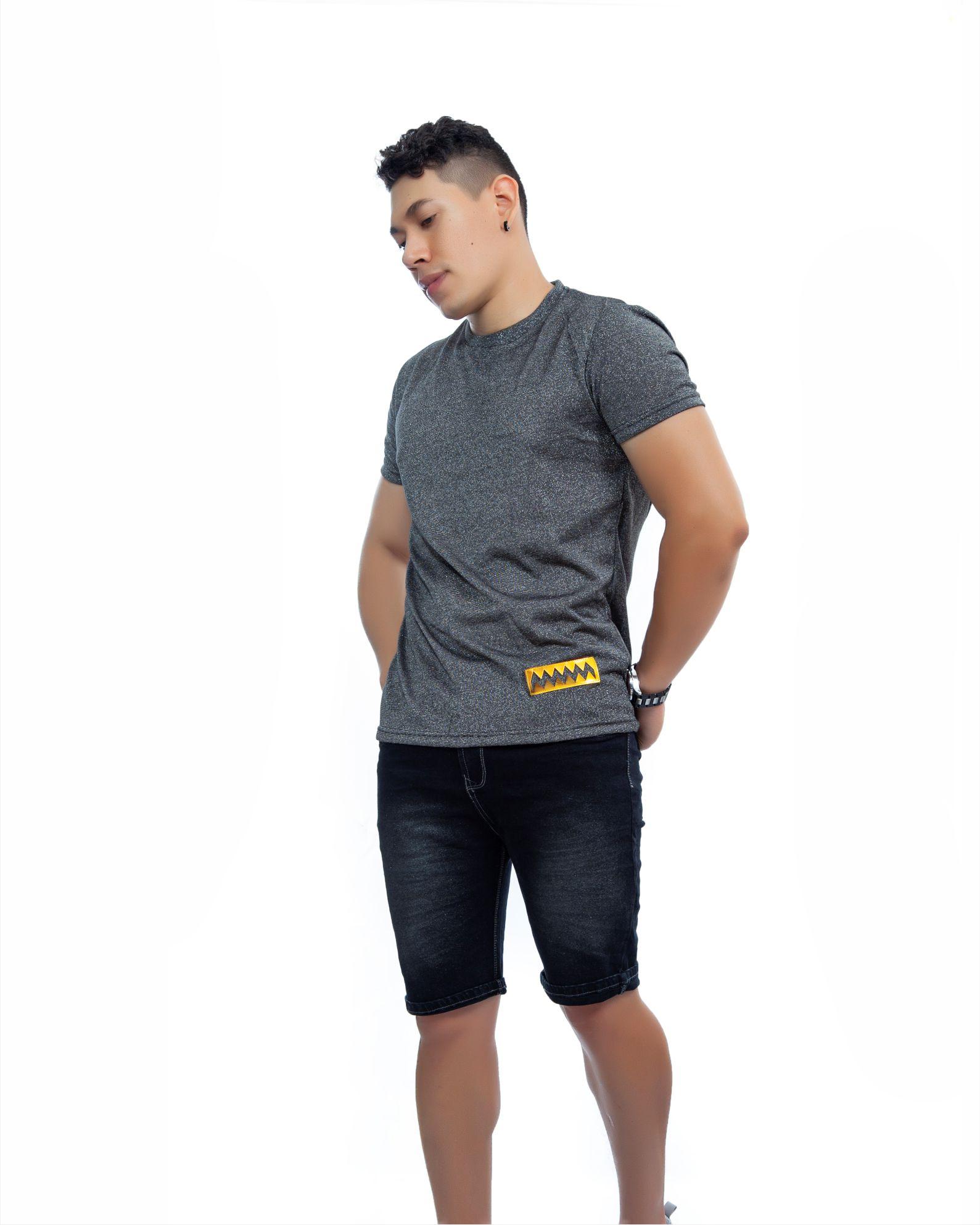 ref 1715 01 camiseta Hilo brillante Gris Oscuro, tela en algodon 80% + 18% poliester + 2% Spandex Tallas S-M-L-XL. $57.000.