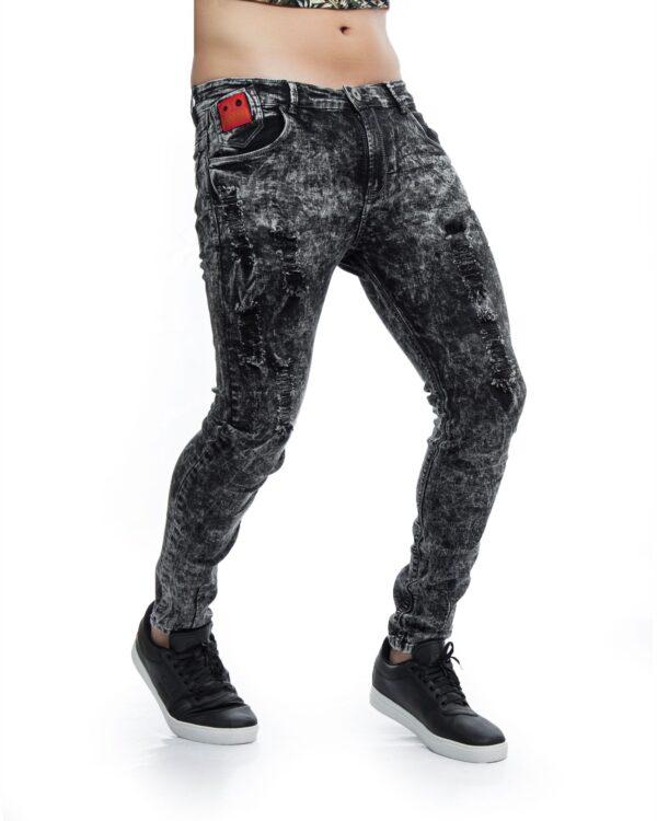 ref 1748 1 jean dinamita difuminado gris , tela jean en algodon 98% + 2% expande.