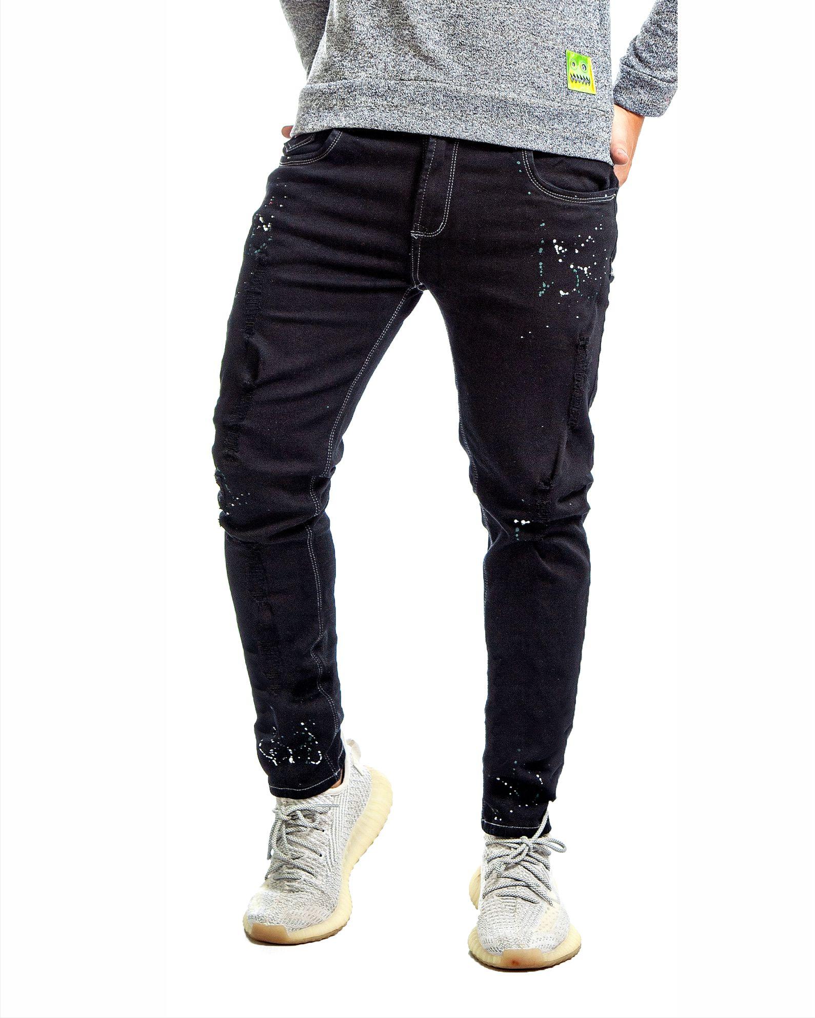 jean ref 1453 2 DESCRIPCION jean negro goteo blanco y verde, tela 98% algodon mas 2% de expande. $85 mil