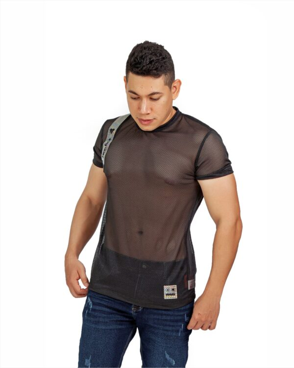 ref 1766 1 camiseta negro maya ensamble brillante, material maya en 98% poliester + 2% Spandex Tallas XS-S-M-L-XL. $48.000.
