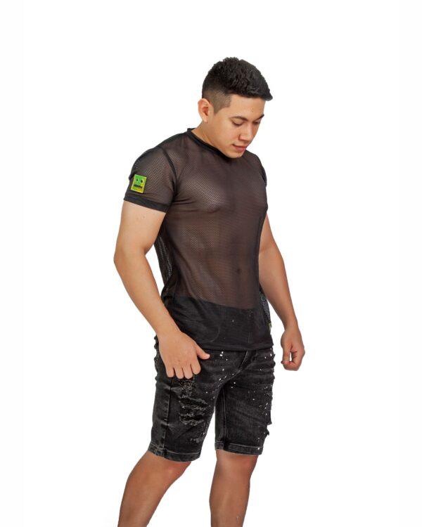 ref 1767 2 camiseta negro maya logo dorado, material maya en 98% poliester + 2% Spandex Tallas XS-S-M-L-XL. $48.000.