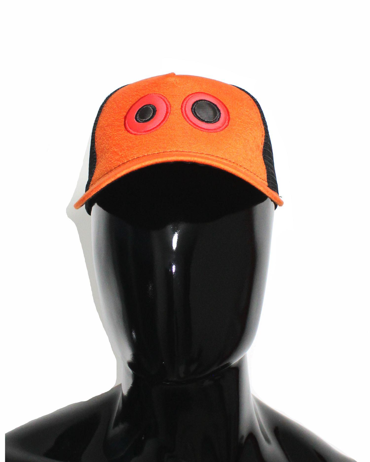 Gorra lona naranja y visera naranja, con maya negra ojos bordados grandes 01 $37.000